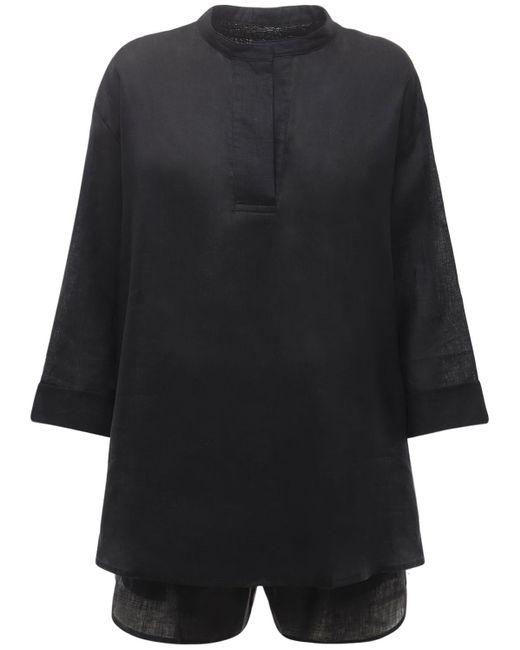The Sleep Shirt リネンパジャマセット Black