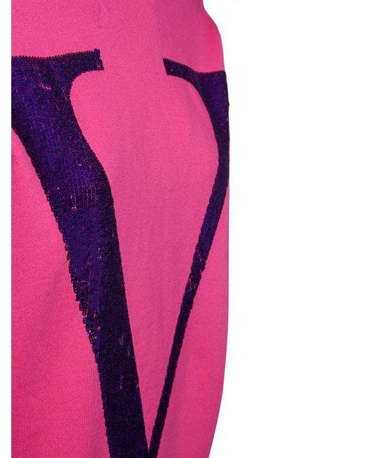 Valentino オーバーサイズスパンコールジャージーフーディー Purple