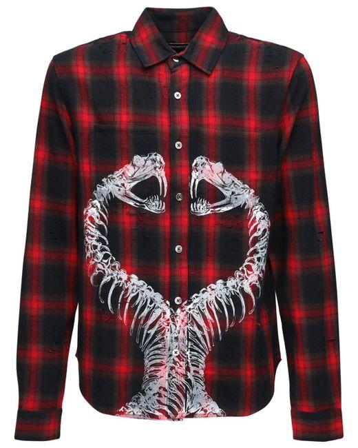メンズ DOMREBEL コットンボタンダウンシャツ Red