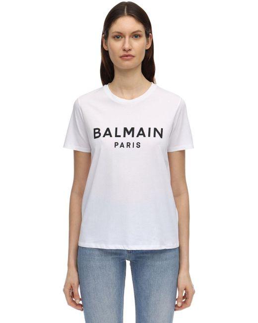Balmain コットンジャージーtシャツ White