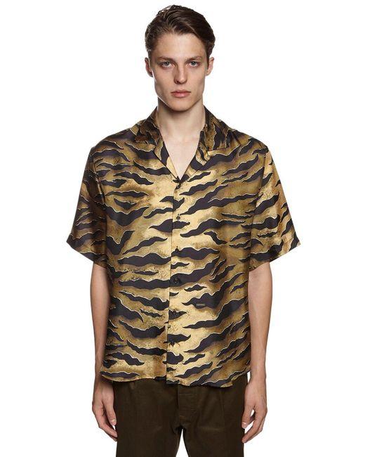 メンズ DSquared² シルクツイルボウリングシャツ Brown