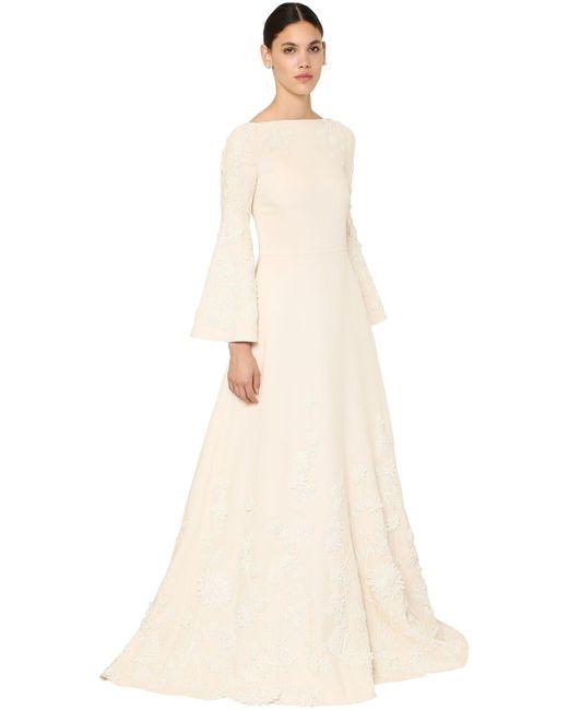 Valentino Coutureロングクレープドレス White