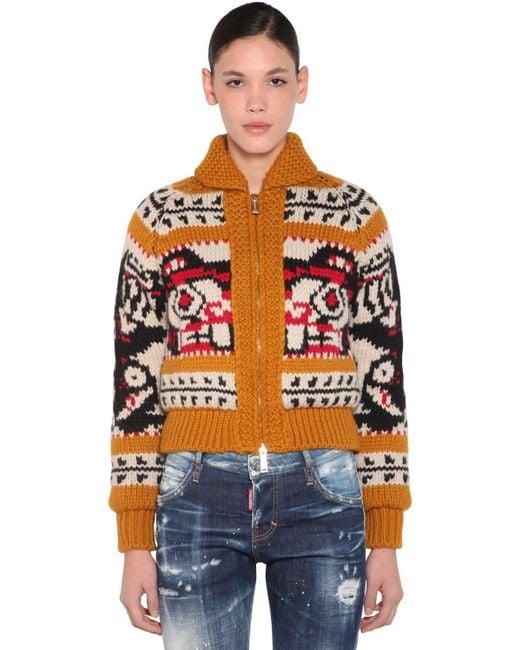 DSquared² ウールニット&モヘア ジップアップセーター Multicolor