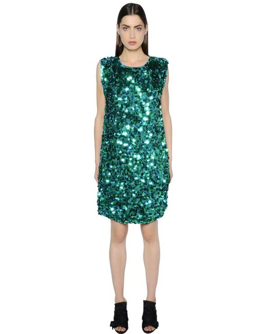 Gianluca Capannolo Sequined Crepe Dress Green