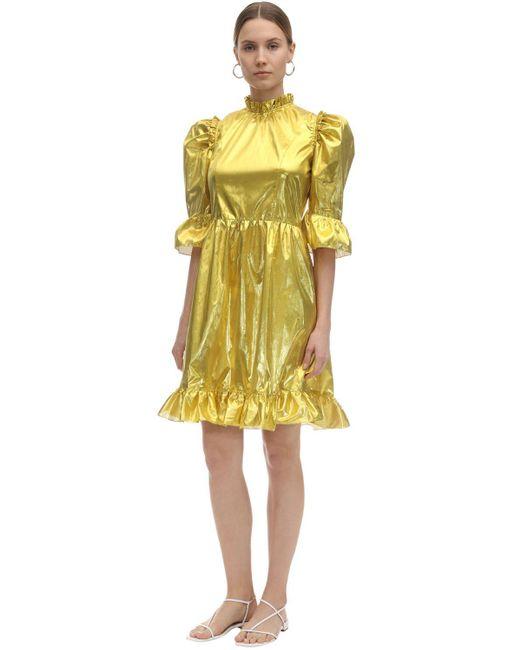 BATSHEVA Spring Prairie メタリックドレス Yellow