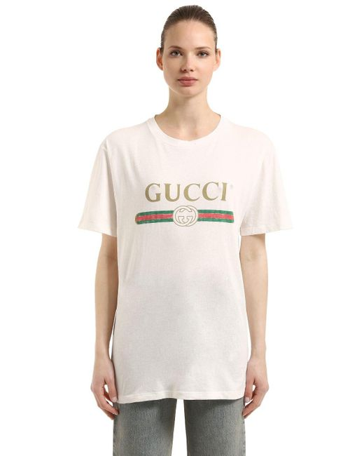 Gucci グッチロゴ オーバーサイズ コットン Tシャツ White