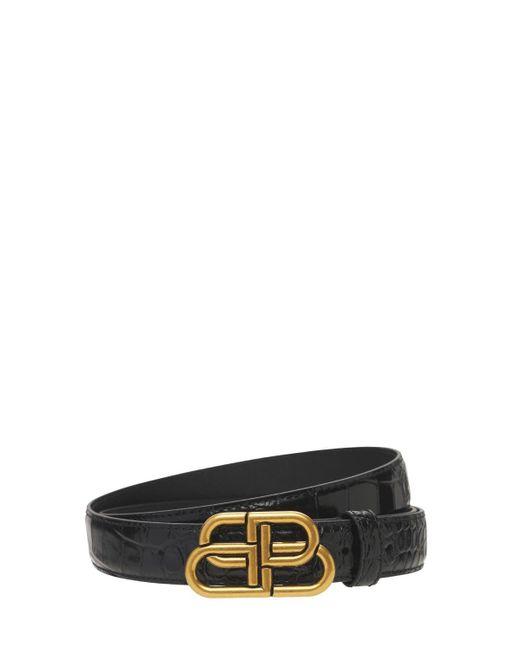 Balenciaga Bb クロコエンボスレザーベルト 3cm Black