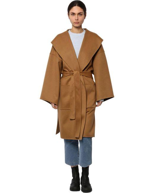 Пальто Из Шерсти И Кашемира Loewe, цвет: Brown