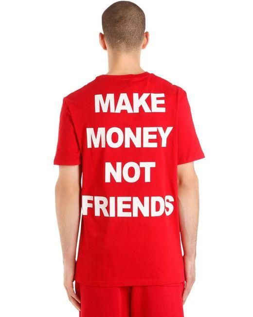 メンズ MAKE MONEY NOT FRIENDS ロゴプリント コットンジャージーtシャツ Red