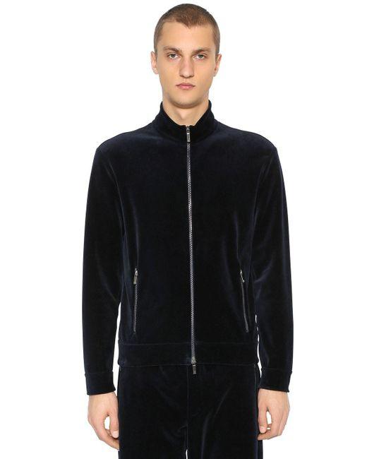 メンズ Giorgio Armani コットンベルベットジップアップスウェットシャツ Black