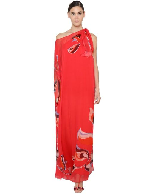 Emilio Pucci ワンショルダーシルクシフォンカフタンドレス Red