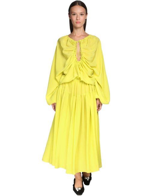 Rochas シルククレープドレス Yellow