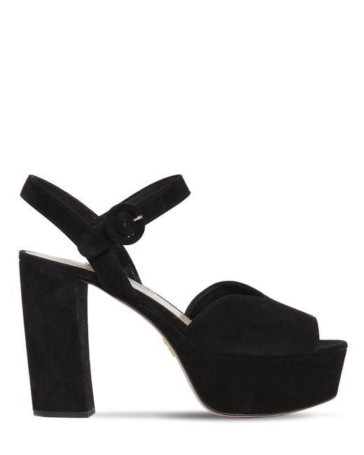 295c845540d Prada - Black 110mm Suede Platform Sandals - Lyst ...