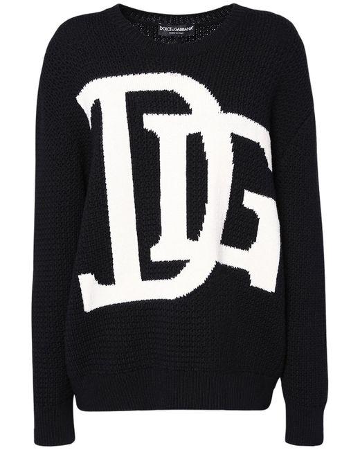 Dolce & Gabbana オーバーサイズインターシャロゴウールセーター Black