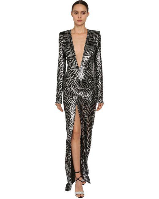 Vestito Con Paillettes Effetto Zebrato di Alexandre Vauthier in Black