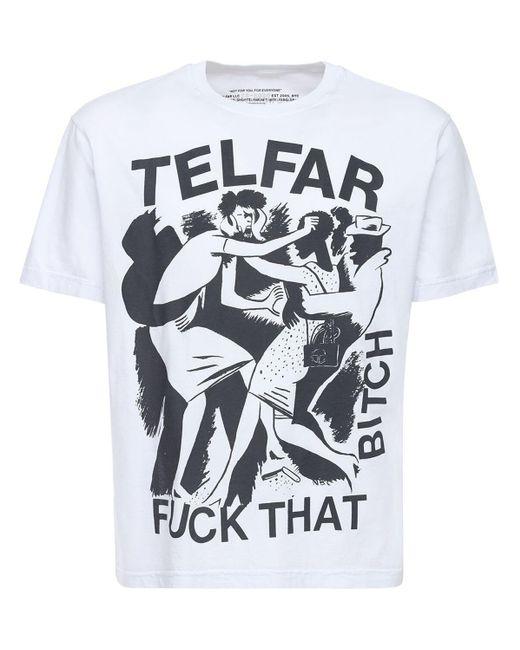 T-shirt In Cotone Con Stampa di Telfar in White da Uomo