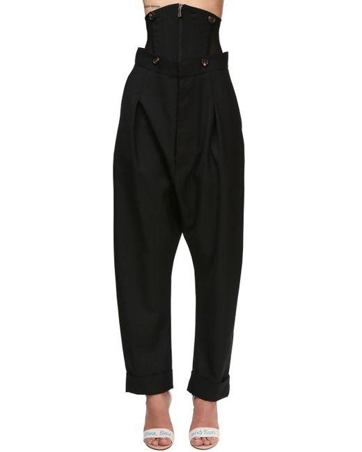 Pantalones De Sarga De Lana Con Corsé Vivienne Westwood de color Black