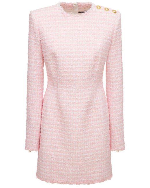 Balmain コットンブレンドツイードミニドレス Pink