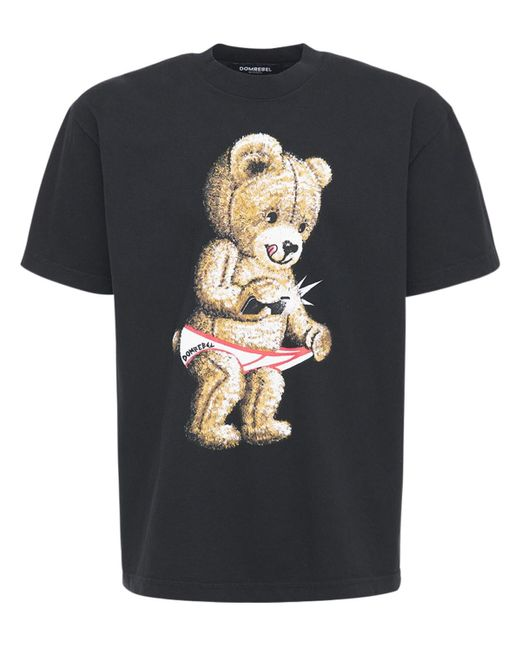メンズ DOMREBEL Snap コットンジャージーtシャツ Black