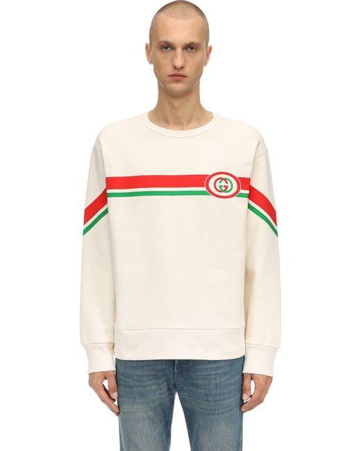 メンズ Gucci Gg ロゴプリント コットンスウェットシャツ White