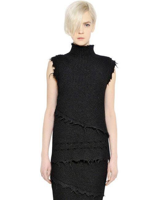 Damir Doma - Black Wool & Alpaca Sweater With Raw Cut Edges - Lyst