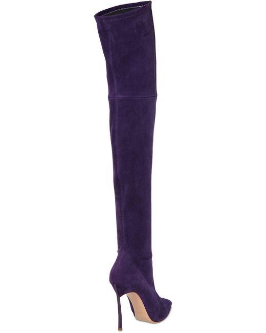 Casadei Blade ストレッチスエードブーツ 100mm Purple