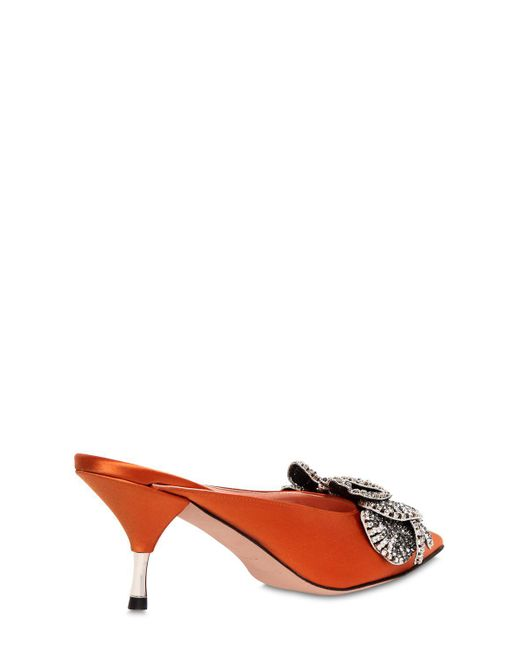 Rochas 60MM CRYSTAL FLOWERS SATIN MULES SSKQJd
