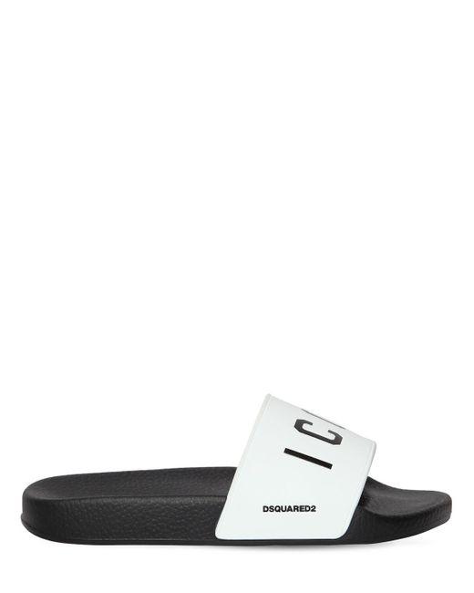 DSquared² Icon ラバースライドサンダル 20mm White