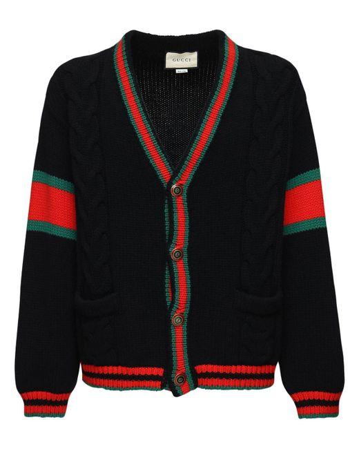Кардиган В Стиле Оверсайз Gucci для него, цвет: Black