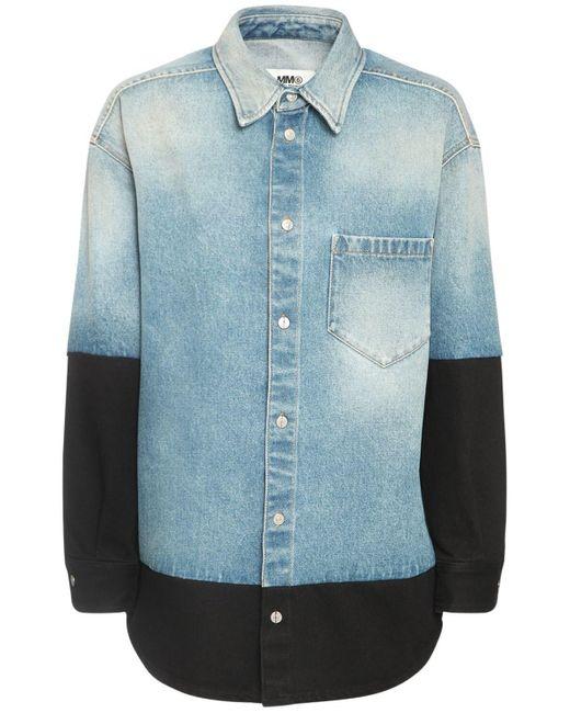 MM6 by Maison Martin Margiela Blue Hemd Aus Baumwolldenim Und Jersey