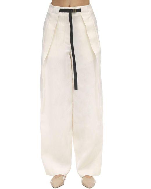 The Row Brona シルク&リネンキャンバスパンツ White