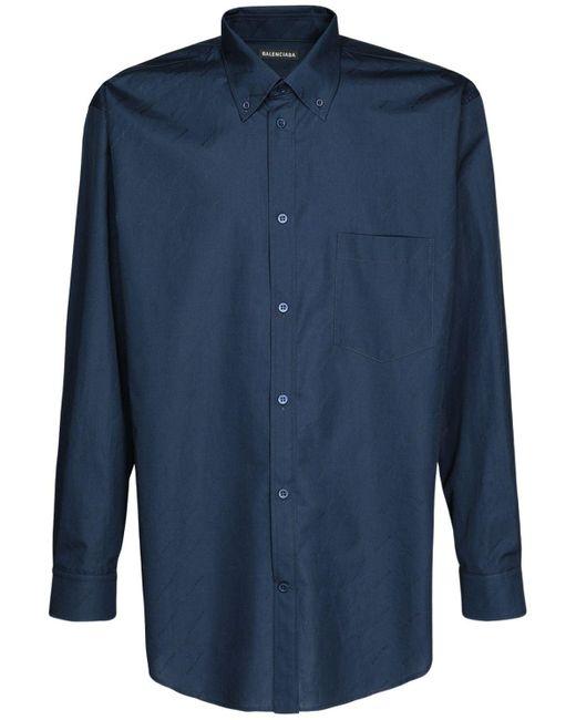 Balenciaga Blue Logo Jacquard Cotton Shirt for men