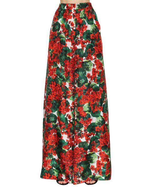 Dolce & Gabbana シルクツイル パラッツォパンツ Red