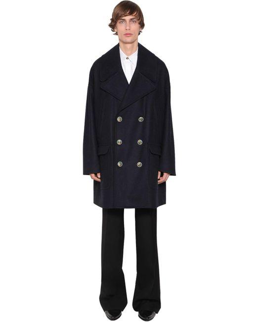 Двубортное Пальто Из Шерсти Givenchy для него, цвет: Blue