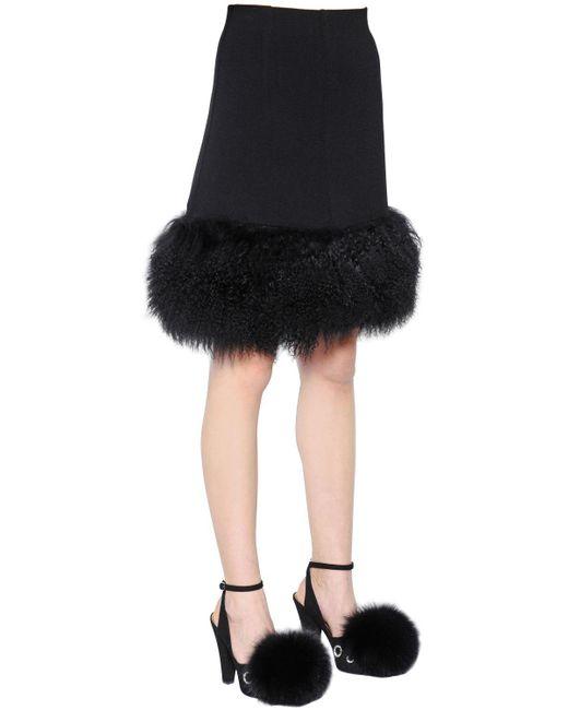 Sonia Rykiel - Black Mongolia Fur & Wool Crepe Skirt - Lyst