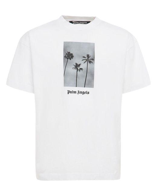 Palm Angels T-shirt Aus Baumwolljersey Mit Druck in White für Herren