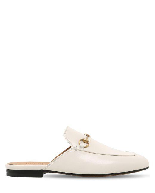 "Туфли-мюли ""princetown"" Из Жаккарда Ламé 10mm Gucci, цвет: White"