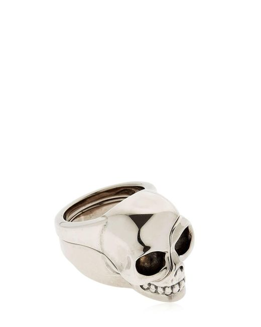 "Alexander McQueen - Metallic Anillo ""divided Skull"" for Men - Lyst"