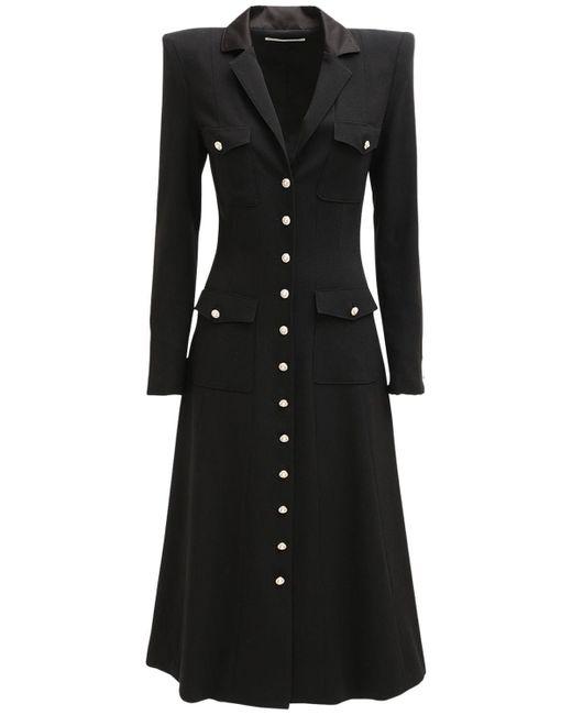 Alessandra Rich ウールクレープドレス Black