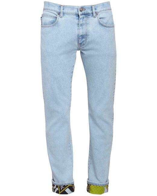 Джинсы Из Хлопкового Денима 17.5см Versace для него, цвет: Blue