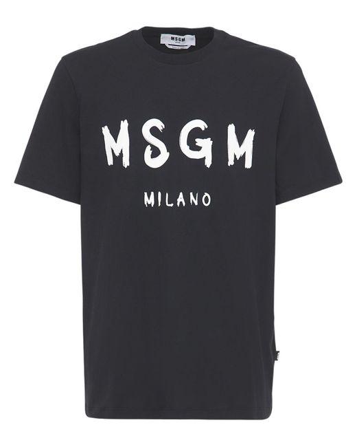メンズ MSGM ビニールロゴ コットンジャージーtシャツ Black