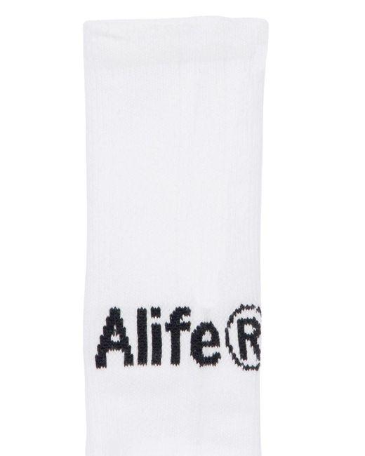 メンズ Alife Products コットンブレンドソックス White