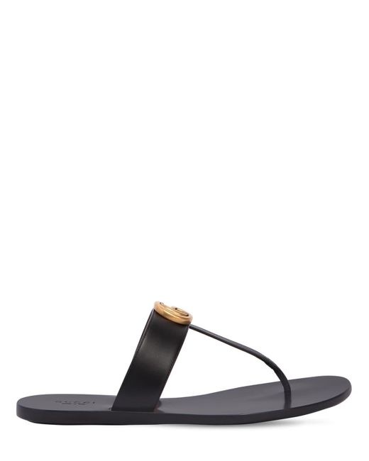 0bef50621 Gucci 10mm Marmont Leather Thong Sandals in Black - Save 14% - Lyst
