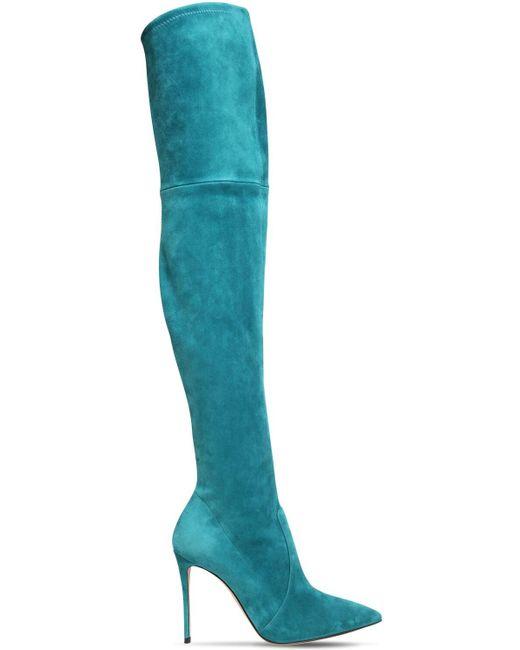 Замшевые Ботфорты Julia 100mm Casadei, цвет: Blue