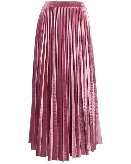 Юбка Со Складками Из Велюра Valentino, цвет: Pink