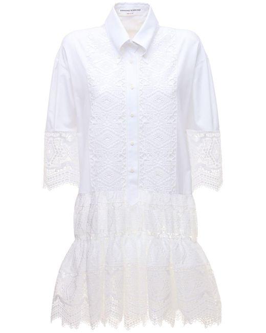 Ermanno Scervino コットンレースドレス White