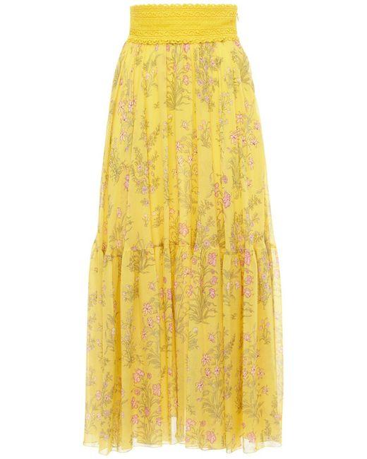 Giambattista Valli Floral シルクジョーゼットマキシスカート Yellow