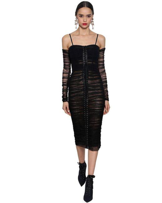Abito In Tulle Stretch di Dolce & Gabbana in Black