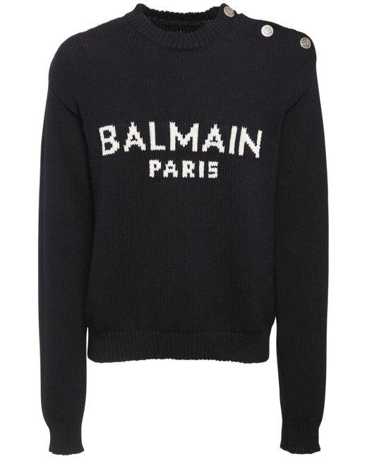 メンズ Balmain オーバーサイズウールセーター Black