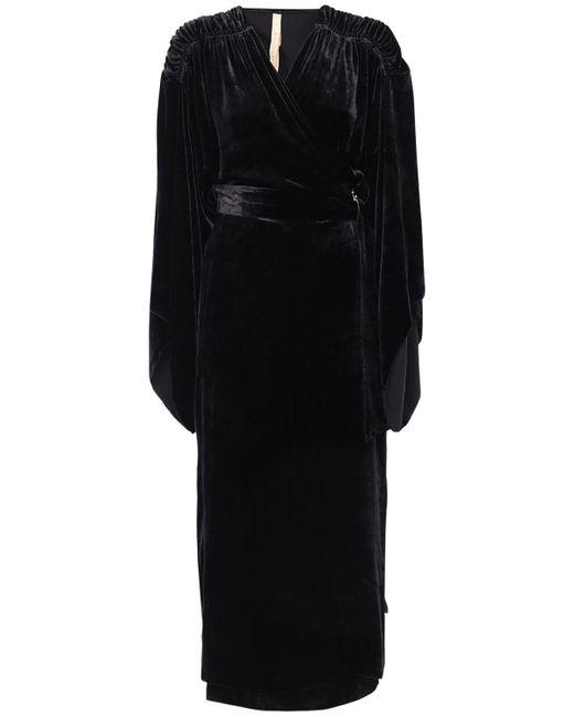 Maria Lucia Hohan Olina シルクベルベットラップドレス Black
